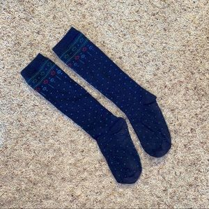 Navy Christmas winter knee high socks